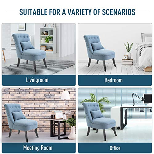 HOMCOM Fabric Single Sofa Dining Chair Tub Chair Upholstered W/Pillow Solid Wood Leg Home Living Room Furniture Blue 7