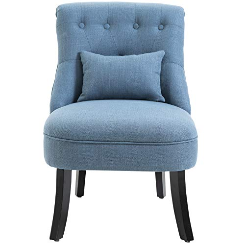 HOMCOM Fabric Single Sofa Dining Chair Tub Chair Upholstered W/Pillow Solid Wood Leg Home Living Room Furniture Blue 8