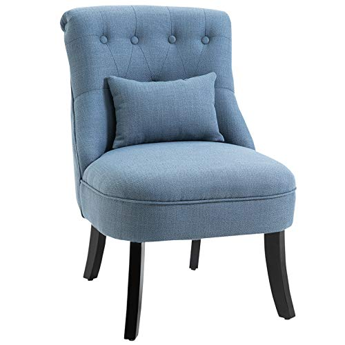 HOMCOM Fabric Single Sofa Dining Chair Tub Chair Upholstered W/Pillow Solid Wood Leg Home Living Room Furniture Blue 1