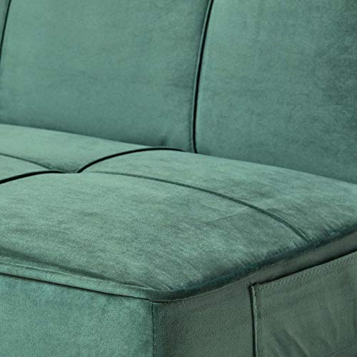 Homescapes Velvet Sofa Bed Dark Green 3 Seater Sofa Click Clack Bed Sleeper Retro Range 'Bower' Bed Settee on Wooden… 6