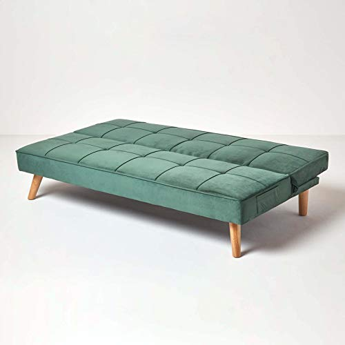 Homescapes Velvet Sofa Bed Dark Green 3 Seater Sofa Click Clack Bed Sleeper Retro Range 'Bower' Bed Settee on Wooden… 7