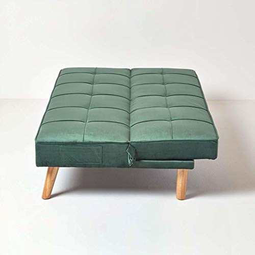 Homescapes Velvet Sofa Bed Dark Green 3 Seater Sofa Click Clack Bed Sleeper Retro Range 'Bower' Bed Settee on Wooden… 9