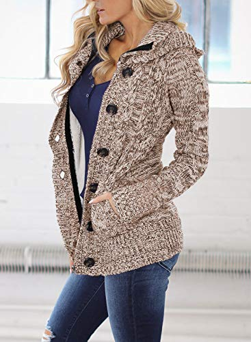 Happy Sailed Womens Hooded Button Down Cardigan Coat with Pockets 4