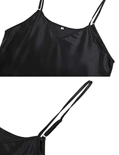 Hawiton Women Satin Negligee Nightdress Short Satin Nighties V Neck Spaghetti Strap Chemise 7