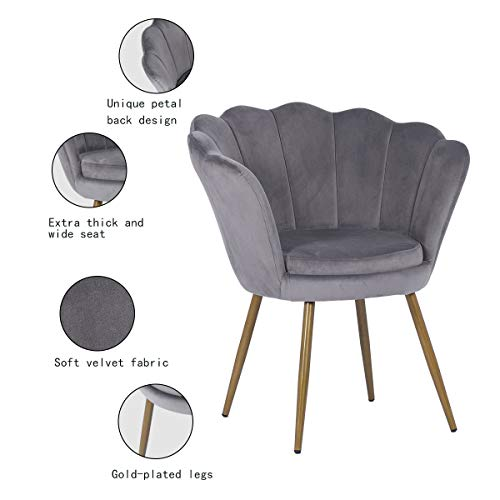 Hironpal Velvet Tub Chair Accent Armchair Living Room Single Occasional Lounge Chair Bedroom Metal Legs Sofa Side Chair… 3