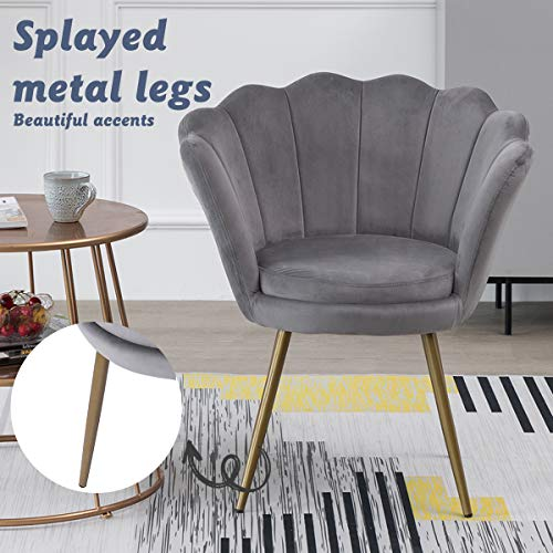Hironpal Velvet Tub Chair Accent Armchair Living Room Single Occasional Lounge Chair Bedroom Metal Legs Sofa Side Chair… 8