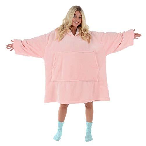 Hodge and Hodge Adults Unisex Hoodie Blanket Sweatshirt Sherpa Fleece Oversize Top Classic Blue 3