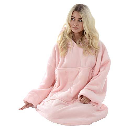 Hodge and Hodge Adults Unisex Hoodie Blanket Sweatshirt Sherpa Fleece Oversize Top Classic Blue 4