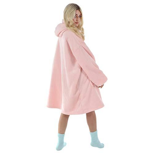 Hodge and Hodge Adults Unisex Hoodie Blanket Sweatshirt Sherpa Fleece Oversize Top Classic Blue 5