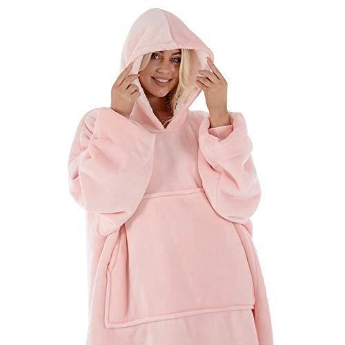 Hodge and Hodge Adults Unisex Hoodie Blanket Sweatshirt Sherpa Fleece Oversize Top Classic Blue 6