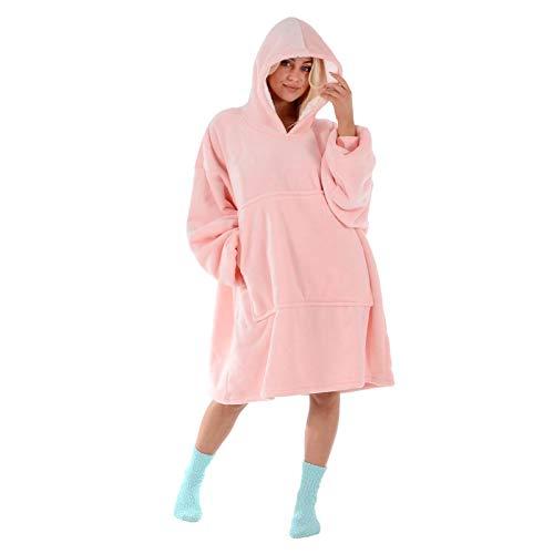 Hodge and Hodge Adults Unisex Hoodie Blanket Sweatshirt Sherpa Fleece Oversize Top Classic Blue 1