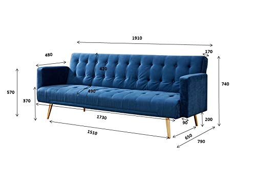 Velvet Three Seater Sofa Bed in Grey Pink Blue or Green with Contrast Golden or Rose Gold Finish Legs (Green with Golden… 3
