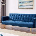 Velvet Three Seater Sofa Bed in Grey Pink Blue or Green with Contrast Golden or Rose Gold Finish Legs (Green with Golden… 13