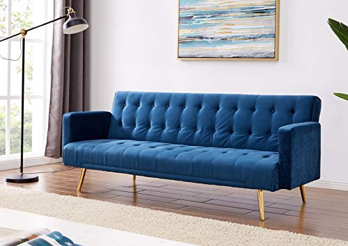 Velvet Three Seater Sofa Bed in Grey Pink Blue or Green with Contrast Golden or Rose Gold Finish Legs (Green with Golden… 4