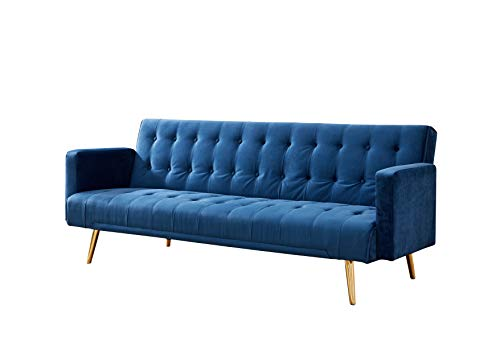 Velvet Three Seater Sofa Bed in Grey Pink Blue or Green with Contrast Golden or Rose Gold Finish Legs (Green with Golden… 1