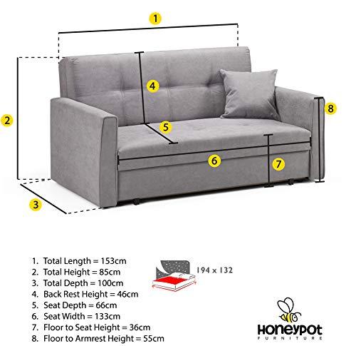 Honeypot - Sofa - Viva - Large Storage Sofa Bed - 3 Seater - 2 Seater - Grey - Plush Grey - Teal - Fabric (2 Seater… 3