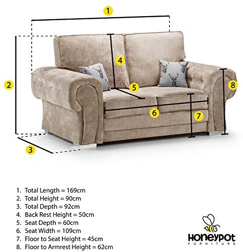 Honeypot - Sofa - Verona - Fullback - Corner Sofa - 3 Seater - 2 Seater - Footstool (Beige, 2 Seater) 6