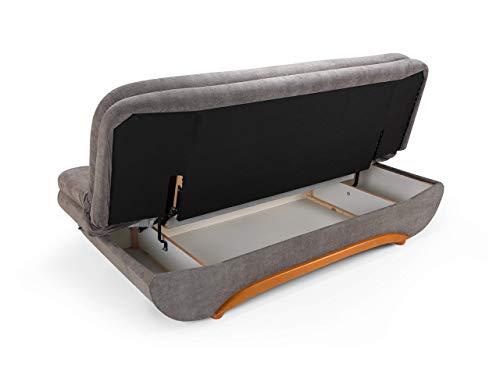 Honeypot - Sofa - Weronika - Storage Sofa Bed - 3 Seater - Footstool - Grey Fabric (3 Seater) 5