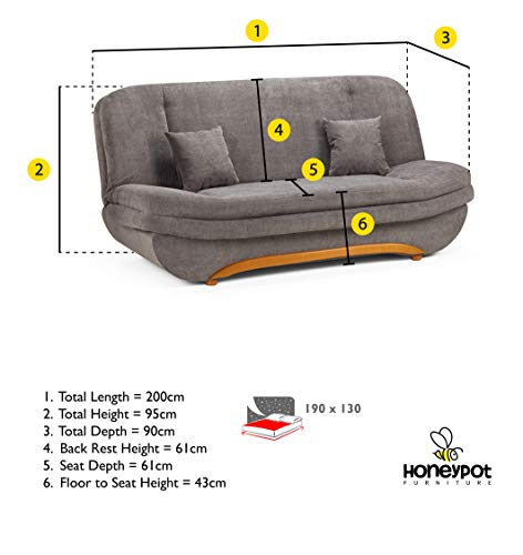 Honeypot - Sofa - Weronika - Storage Sofa Bed - 3 Seater - Footstool - Grey Fabric (3 Seater) 6
