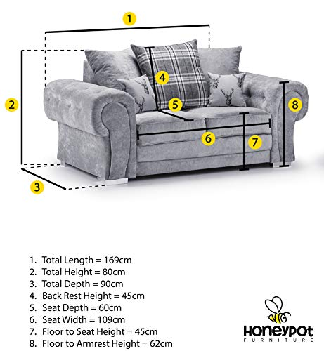 Honeypot - Sofa - Verona - Fabric - Corner Sofa - 3 Seater - 2 Seater - Footstool (Grey, 2 Seater) 3