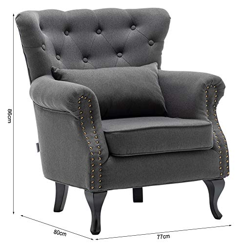 INMOZATA Armchair Linen Fabric Tufted Upholstered Occasional Lounge Seat Modern Tub Chair with Pillows for Dining Living… 3