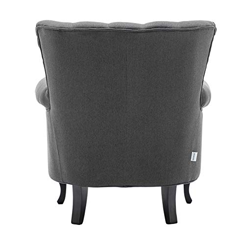 INMOZATA Armchair Linen Fabric Tufted Upholstered Occasional Lounge Seat Modern Tub Chair with Pillows for Dining Living… 4