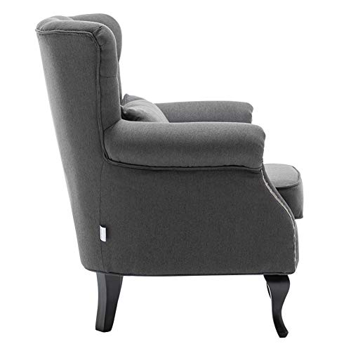INMOZATA Armchair Linen Fabric Tufted Upholstered Occasional Lounge Seat Modern Tub Chair with Pillows for Dining Living… 9