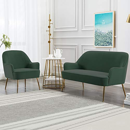 INMOZATA Dark Green Tub Chair Velvet Dining Armchair Arm Rest Occasional Chairs for Living Room Bedroom Lounge 4