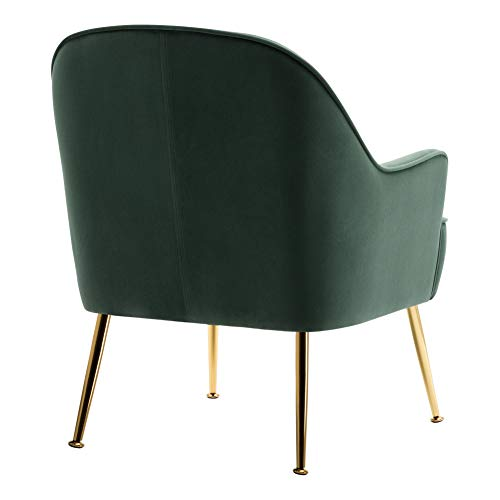INMOZATA Dark Green Tub Chair Velvet Dining Armchair Arm Rest Occasional Chairs for Living Room Bedroom Lounge 5