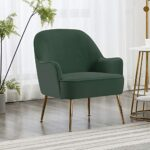 INMOZATA Dark Green Tub Chair Velvet Dining Armchair Arm Rest Occasional Chairs for Living Room Bedroom Lounge 25