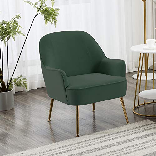 INMOZATA Dark Green Tub Chair Velvet Dining Armchair Arm Rest Occasional Chairs for Living Room Bedroom Lounge 7