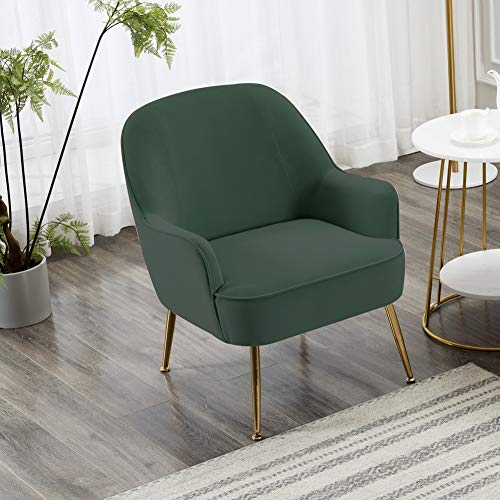 INMOZATA Dark Green Tub Chair Velvet Dining Armchair Arm Rest Occasional Chairs for Living Room Bedroom Lounge 8