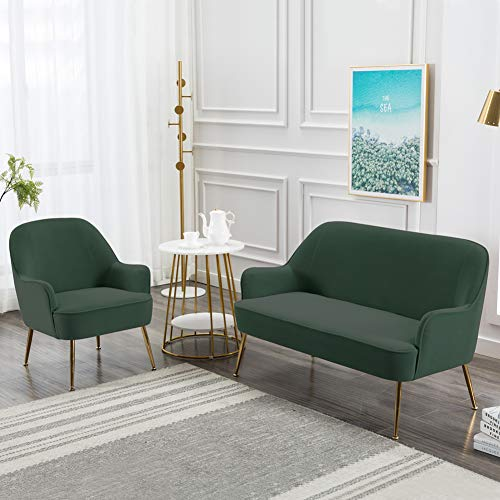 INMOZATA Dark Green Tub Chair Velvet Dining Armchair Arm Rest Occasional Chairs for Living Room Bedroom Lounge 9