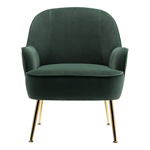 INMOZATA Dark Green Tub Chair Velvet Dining Armchair Arm Rest Occasional Chairs for Living Room Bedroom Lounge 1