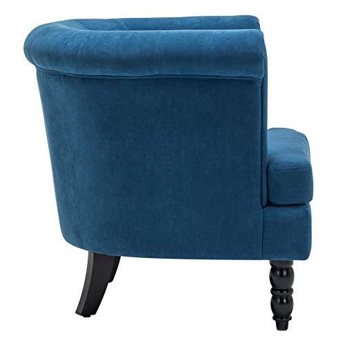 INMOZATA Tub Chair Comfy Velvet Faux Fabric Club Chair Retro High Back Armchair withBlack Wood Legs for Living Room… 3