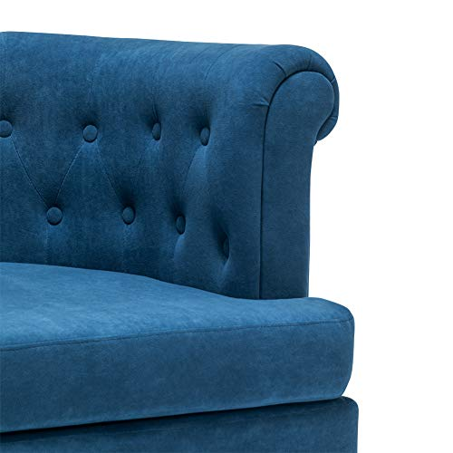 INMOZATA Tub Chair Comfy Velvet Faux Fabric Club Chair Retro High Back Armchair withBlack Wood Legs for Living Room… 5