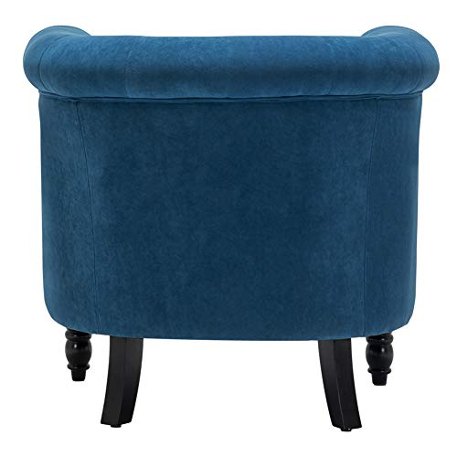 INMOZATA Tub Chair Comfy Velvet Faux Fabric Club Chair Retro High Back Armchair withBlack Wood Legs for Living Room… 6