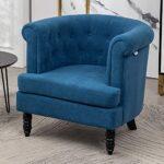 INMOZATA Tub Chair Comfy Velvet Faux Fabric Club Chair Retro High Back Armchair withBlack Wood Legs for Living Room… 26