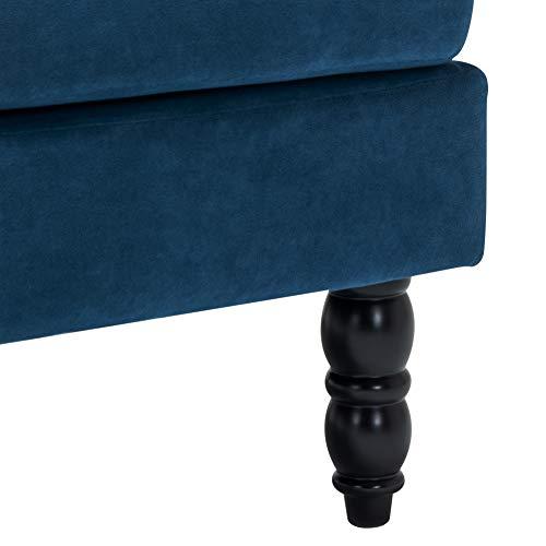 INMOZATA Tub Chair Comfy Velvet Faux Fabric Club Chair Retro High Back Armchair withBlack Wood Legs for Living Room… 8