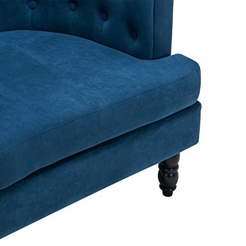 INMOZATA Tub Chair Comfy Velvet Faux Fabric Club Chair Retro High Back Armchair withBlack Wood Legs for Living Room… 9