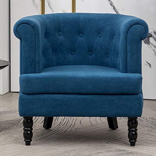 INMOZATA Tub Chair Comfy Velvet Faux Fabric Club Chair Retro High Back Armchair withBlack Wood Legs for Living Room… 10