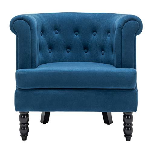 INMOZATA Tub Chair Comfy Velvet Faux Fabric Club Chair Retro High Back Armchair withBlack Wood Legs for Living Room… 1