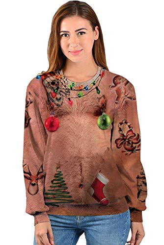 IDGREATIM Unsiex Ugly Christmas Pullover Sweatshirts 3D Print Novelty Xmas Elf Long Sleeve Sweater 7