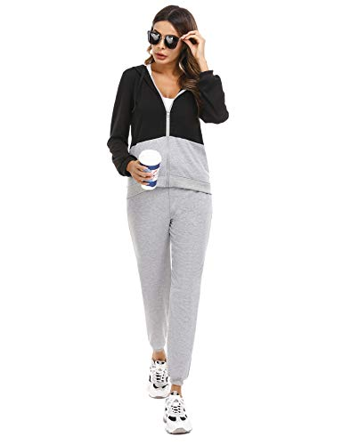 Irevial Womens Casual Loungewear Long Sleeve Sweatshirt Hoodies Pants Tracksuits Jogging Sportwear Outfits Set 3