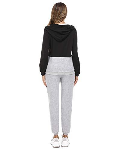 Irevial Womens Casual Loungewear Long Sleeve Sweatshirt Hoodies Pants Tracksuits Jogging Sportwear Outfits Set 6