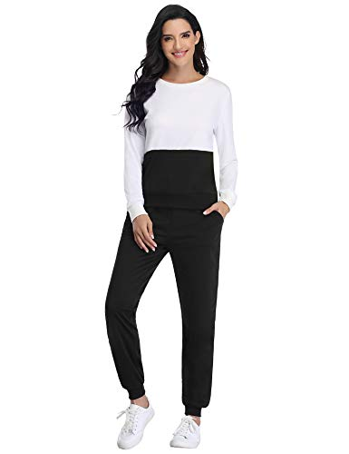 Irevial Womens Casual Loungewear Long Sleeve Sweatshirt Hoodies Pants Tracksuits Jogging Sportwear Outfits Set 10