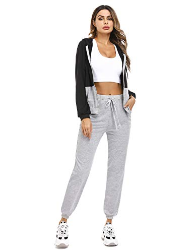 Irevial Womens Casual Loungewear Long Sleeve Sweatshirt Hoodies Pants Tracksuits Jogging Sportwear Outfits Set 1