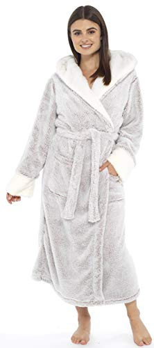 KATE MORGAN Ladies Soft & Cosy Long Pile Hooded Dressing Gown 3