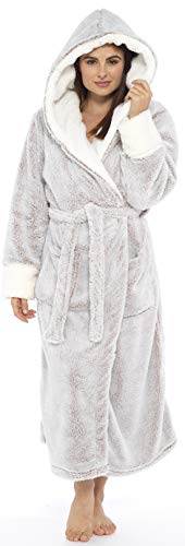 KATE MORGAN Ladies Soft & Cosy Long Pile Hooded Dressing Gown 4