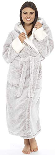 KATE MORGAN Ladies Soft & Cosy Long Pile Hooded Dressing Gown 5